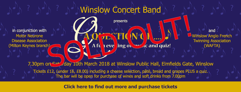 """A banner advertising Winslow Concert Band's event """"A Question of ..."""" on 10th March 2018"""